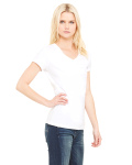 White Ladies' Jersey Short-Sleeve V-Neck T-Shirt as seen from the sleeveleft
