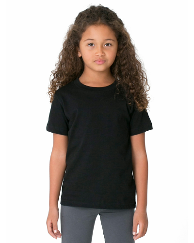 Black MADE IN USA Toddler Poly-Cotton Short-Sleeve Crewneck as seen from the front