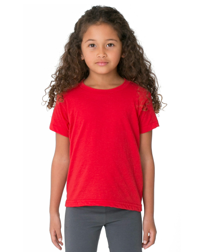 Red MADE IN USA Toddler Poly-Cotton Short-Sleeve Crewneck as seen from the front