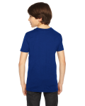 Lapis MADE IN USA Youth Poly-Cotton Short-Sleeve Crewneck as seen from the back