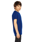 Lapis MADE IN USA Youth Poly-Cotton Short-Sleeve Crewneck as seen from the sleeveleft