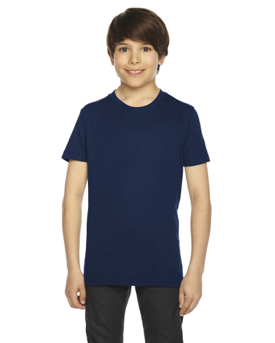 Navy MADE IN USA Youth Poly-Cotton Short-Sleeve Crewneck as seen from the front