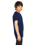 Navy MADE IN USA Youth Poly-Cotton Short-Sleeve Crewneck as seen from the sleeveleft