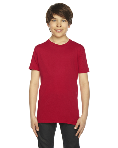 Red MADE IN USA Youth Poly-Cotton Short-Sleeve Crewneck as seen from the front