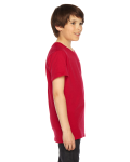 Red MADE IN USA Youth Poly-Cotton Short-Sleeve Crewneck as seen from the sleeveleft