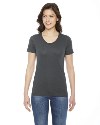 Asphalt MADE IN USA Ladies' Poly-Cotton Short-Sleeve Crewneck as seen from the front