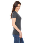 Asphalt MADE IN USA Ladies' Poly-Cotton Short-Sleeve Crewneck as seen from the sleeveleft