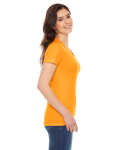 Gold MADE IN USA Ladies' Poly-Cotton Short-Sleeve Crewneck as seen from the sleeveleft