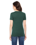 Heather Forest MADE IN USA Ladies' Poly-Cotton Short-Sleeve Crewneck as seen from the back
