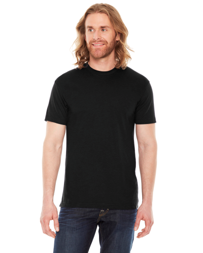 Black MADE IN USA Unisex Poly-Cotton Short-Sleeve Crewneck as seen from the front