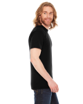 Black MADE IN USA Unisex Poly-Cotton Short-Sleeve Crewneck as seen from the sleeveleft