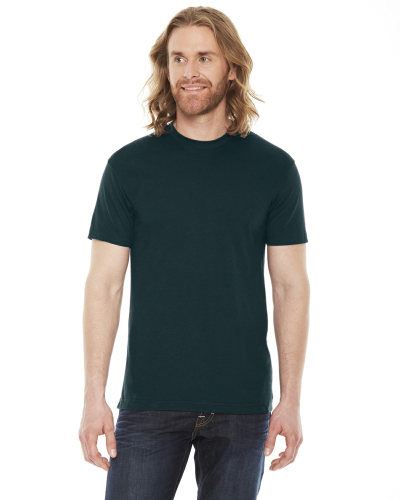 Black Aqua MADE IN USA Unisex Poly-Cotton Short-Sleeve Crewneck as seen from the front