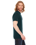 Black Aqua MADE IN USA Unisex Poly-Cotton Short-Sleeve Crewneck as seen from the sleeveleft