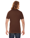 Brown MADE IN USA Unisex Poly-Cotton Short-Sleeve Crewneck as seen from the back