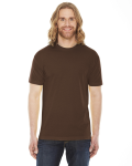 Brown MADE IN USA Unisex Poly-Cotton Short-Sleeve Crewneck as seen from the front