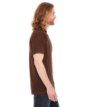 Brown MADE IN USA Unisex Poly-Cotton Short-Sleeve Crewneck as seen from the sleeveleft