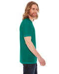 Evergreen MADE IN USA Unisex Poly-Cotton Short-Sleeve Crewneck as seen from the sleeveleft
