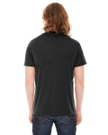Heather Black MADE IN USA Unisex Poly-Cotton Short-Sleeve Crewneck as seen from the back