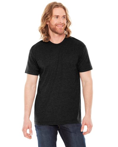 Heather Black MADE IN USA Unisex Poly-Cotton Short-Sleeve Crewneck as seen from the front