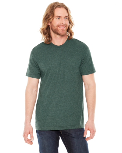 Heather Forest MADE IN USA Unisex Poly-Cotton Short-Sleeve Crewneck as seen from the front