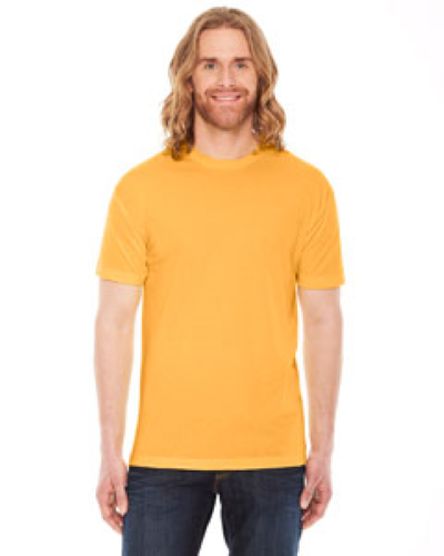 Heather Gold MADE IN USA Unisex Poly-Cotton Short-Sleeve Crewneck as seen from the front