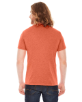 Heather Orange MADE IN USA Unisex Poly-Cotton Short-Sleeve Crewneck as seen from the back