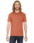 Heather Orange MADE IN USA Unisex Poly-Cotton Short-Sleeve Crewneck as seen from the front