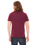 Hthr Cranberry MADE IN USA Unisex Poly-Cotton Short-Sleeve Crewneck as seen from the back