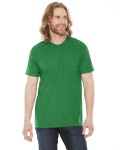 Hthr Kelly Green MADE IN USA Unisex Poly-Cotton Short-Sleeve Crewneck as seen from the front