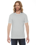 New Silver MADE IN USA Unisex Poly-Cotton Short-Sleeve Crewneck as seen from the front