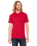 Red MADE IN USA Unisex Poly-Cotton Short-Sleeve Crewneck as seen from the front