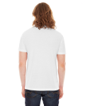 White MADE IN USA Unisex Poly-Cotton Short-Sleeve Crewneck as seen from the back