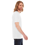 White MADE IN USA Unisex Poly-Cotton Short-Sleeve Crewneck as seen from the sleeveleft