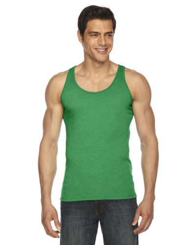Hthr Kelly Green MADE IN USA Unisex Poly-Cotton Tank as seen from the front