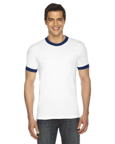 White/navy MADE IN USA Unisex Poly-Cotton Short-Sleeve Ringer T-Shirt as seen from the front
