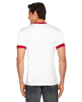 White/red MADE IN USA Unisex Poly-Cotton Short-Sleeve Ringer T-Shirt as seen from the back