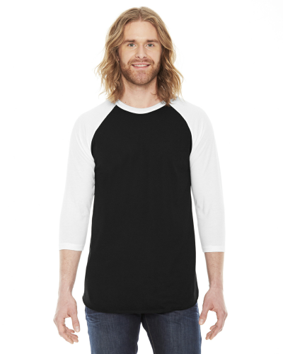Black/white MADE IN USA Unisex Poly-Cotton 3/4-Sleeve Raglan T-Shirt as seen from the front