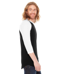 Black/white MADE IN USA Unisex Poly-Cotton 3/4-Sleeve Raglan T-Shirt as seen from the sleeveleft