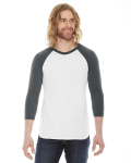 White/asphalt MADE IN USA Unisex Poly-Cotton 3/4-Sleeve Raglan T-Shirt as seen from the front