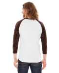 White/brown MADE IN USA Unisex Poly-Cotton 3/4-Sleeve Raglan T-Shirt as seen from the back