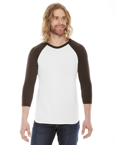 White/brown MADE IN USA Unisex Poly-Cotton 3/4-Sleeve Raglan T-Shirt as seen from the front