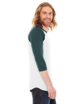 White/forest MADE IN USA Unisex Poly-Cotton 3/4-Sleeve Raglan T-Shirt as seen from the sleeveleft