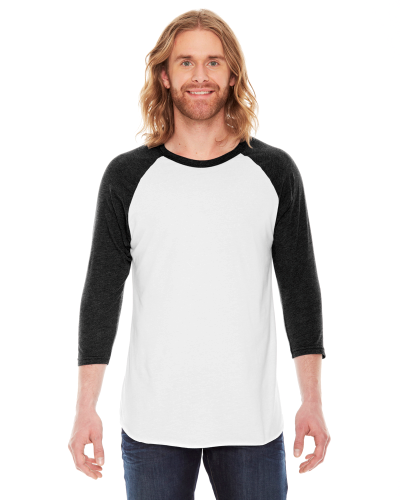 White/heather Black MADE IN USA Unisex Poly-Cotton 3/4-Sleeve Raglan T-Shirt as seen from the front