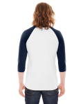 White/navy MADE IN USA Unisex Poly-Cotton 3/4-Sleeve Raglan T-Shirt as seen from the back