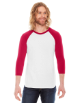 White/red MADE IN USA Unisex Poly-Cotton 3/4-Sleeve Raglan T-Shirt as seen from the front