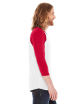 White/red MADE IN USA Unisex Poly-Cotton 3/4-Sleeve Raglan T-Shirt as seen from the sleeveleft