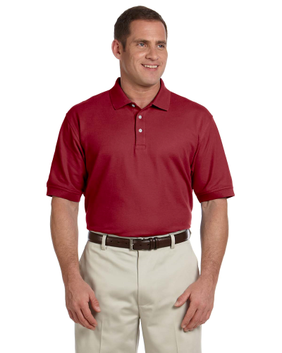 Burgundy Men's Pima Pique Short-Sleeve Polo as seen from the front