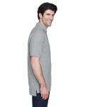 Grey Heather Men's Pima Pique Short-Sleeve Polo as seen from the sleeveleft