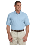 Light Blue Men's Pima Pique Short-Sleeve Polo as seen from the front