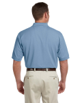 Slate Blue Men's Pima Pique Short-Sleeve Polo as seen from the back